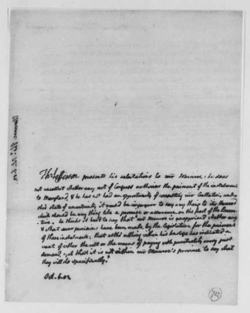 Thomas Jefferson to Thomas Munroe, Superintendent of the City, October 6, 1803