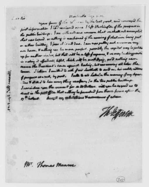 Thomas Jefferson to Thomas Munroe, Superintendent of the City, September 5, 1803