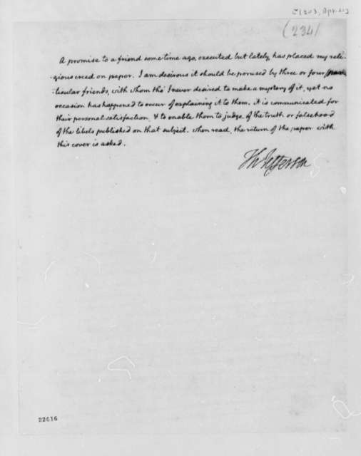 Thomas Jefferson to Unknown, April 21, 1803, Cover Letter Regarding Libels