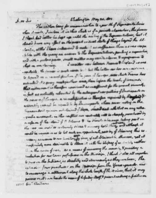Thomas Jefferson to William C. C. Clairborne, May 24, 1803
