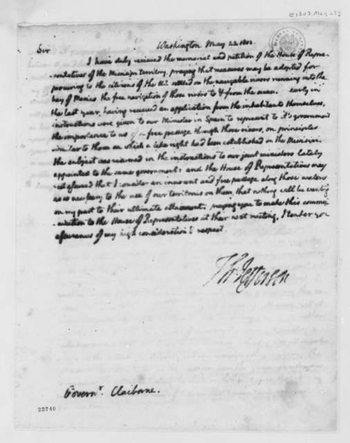 Thomas Jefferson to Willian C. C. Clairborne, May 23, 1803