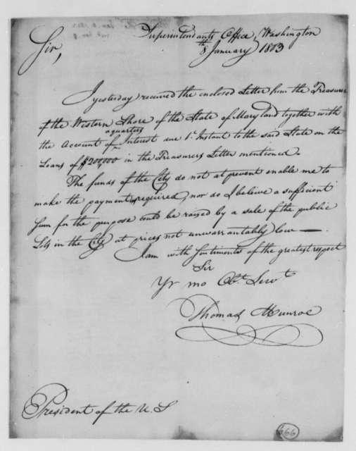 Thomas Munroe, Superintendent of the City to Thomas Jefferson, January 8, 1803