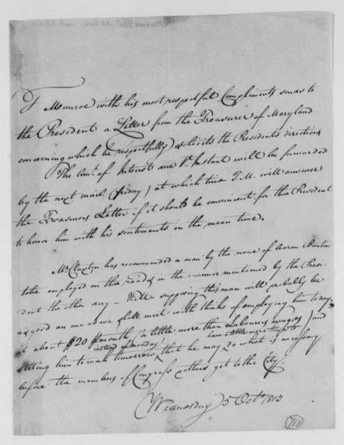 Thomas Munroe, Superintendent of the City to Thomas Jefferson, October 5, 1803