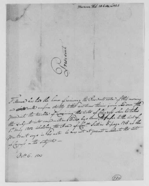 Thomas Munroe, Superintendent of the City to Thomas Jefferson, October 6, 1803