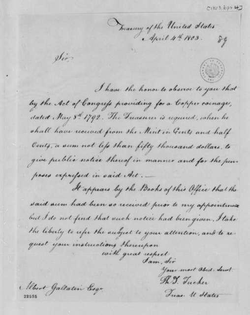 Thomas Tudor Tucker to Albert Gallatin, April 4, 1803