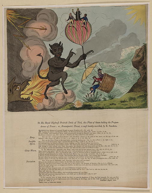 To his royal highness Fredrick Duke of York, this plate of Satan holding th prepondrence of power; or, Bounaparte's threat, is most humbly inscribed, by E. Sanders