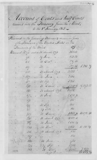 Treasury Department, April 8, 1803, Account of Cents and Half Cents Received