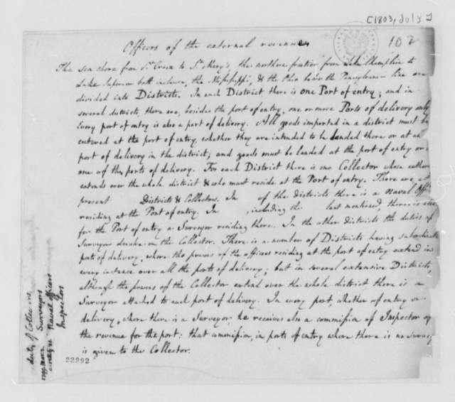 Treasury Department, July 1803, Memorandum on Revenue Officers