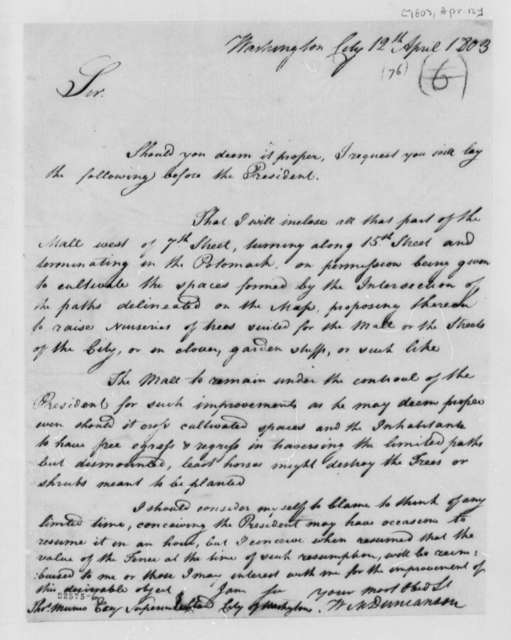 W. M. Duncanson to Thomas Munroe, April 12, 1803