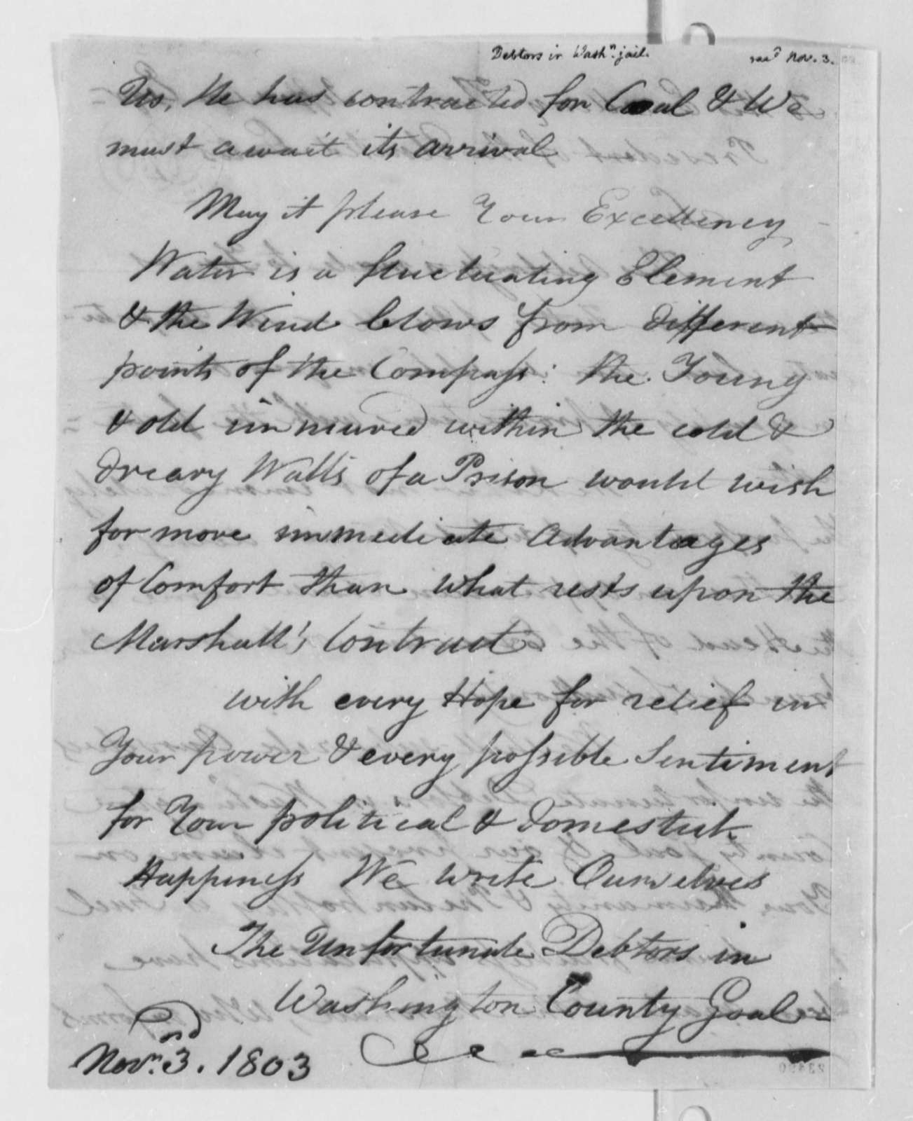Washington County Jail Debtors to Thomas Jefferson, November