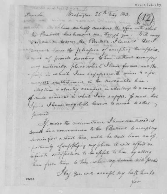 William Brent to Meriwether Lewis, February 25, 1803
