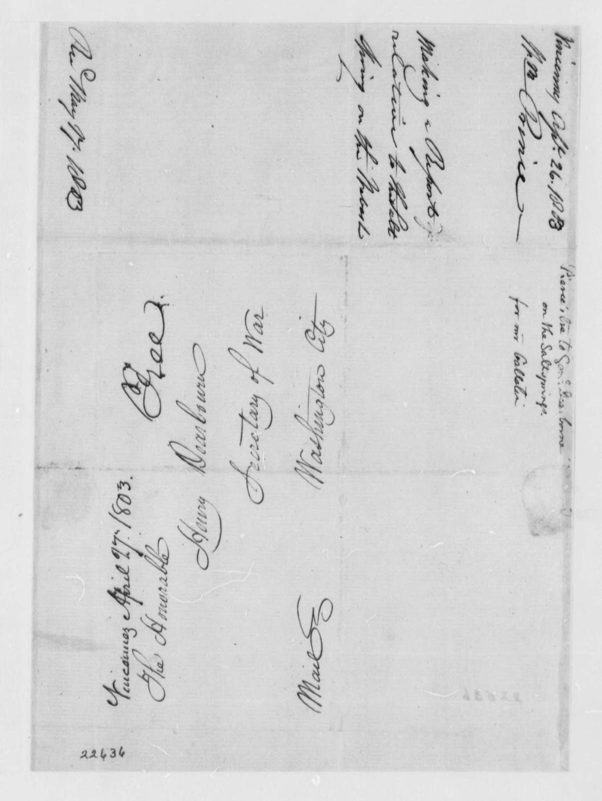 William Prince to Henry Dearborn, April 26, 1803