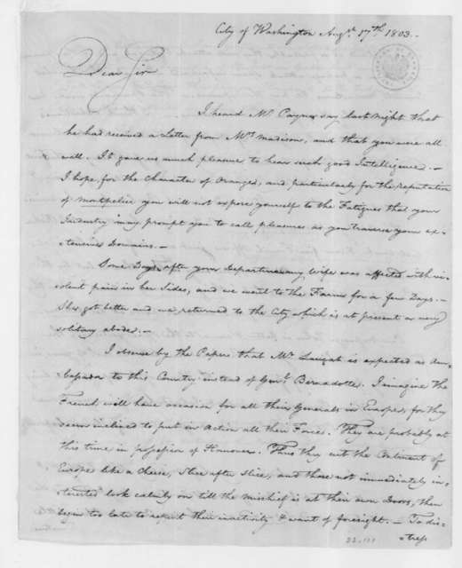 William Thornton to James Madison, August 17, 1803.