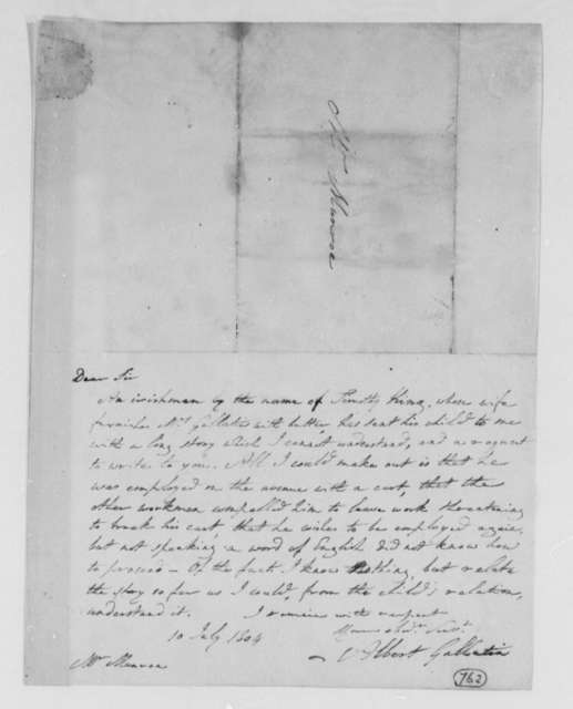 Albert Gallatin to Thomas Munroe, Superintendent of the City, July 10, 1804