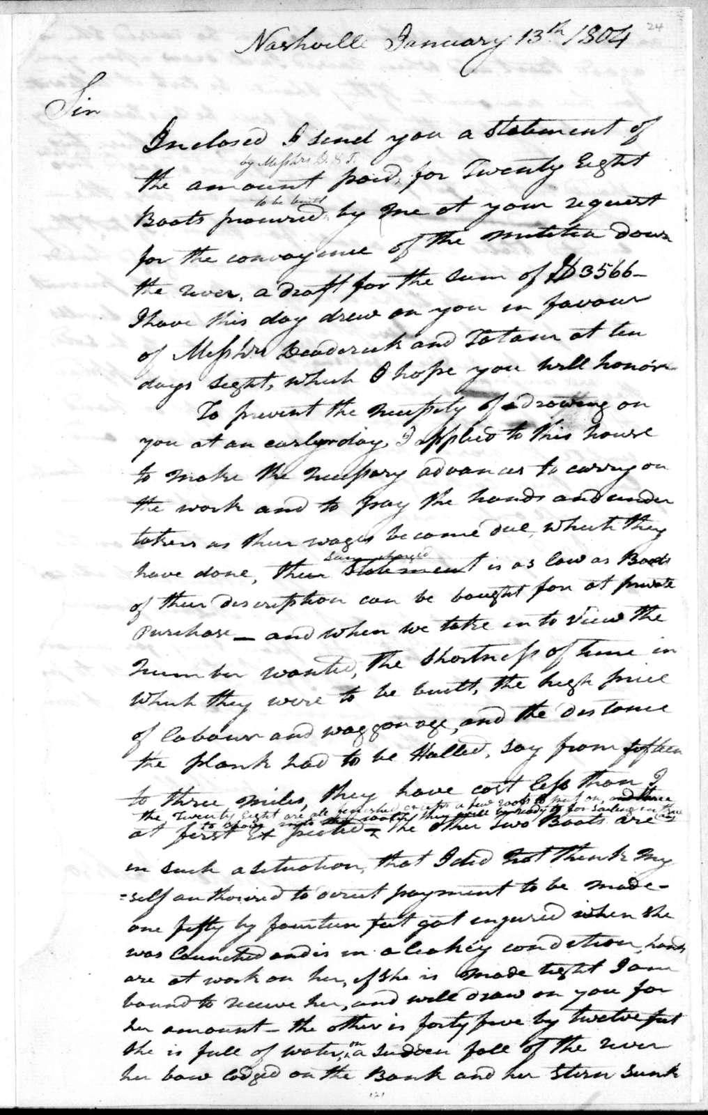 Andrew Jackson to Henry Dearborn, January 13, 1804