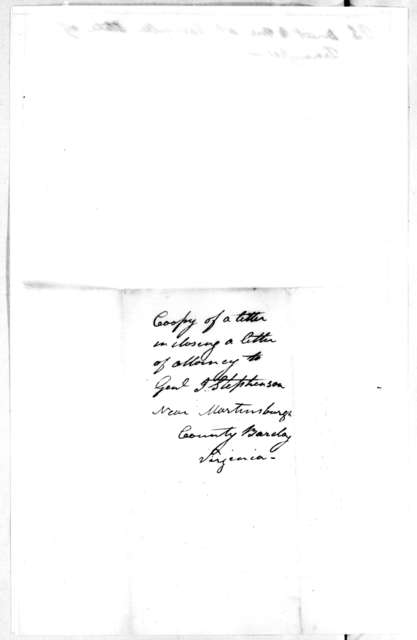 Andrew Jackson to James Stephenson, March 11, 1804