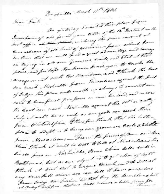 Andrew Jackson to John Hutchings, March 17, 1804