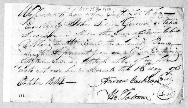 Andrew Jackson to John Sevier, October 15, 1804