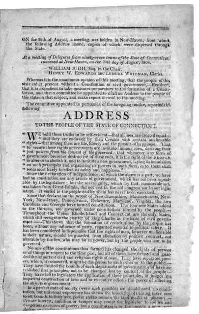 ... At a meeting of delegates from ninety-seven towns of the State of Connecticut, convened at New-Haven, on the 29th day of August, 1804. William Judd, Esq. in the Chair. Henry W. Edwards and Lemuel Whitman Clerks. Whereas it is the unanimous o