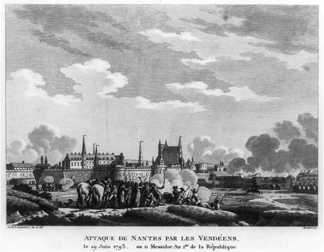 Attaque de Nantes par les Vendéens, le 29 Juin 1793, ou 11 Messidor an 1er de la République / Swebach Desfontaines, inv. & del. ; Bertault, sculp.