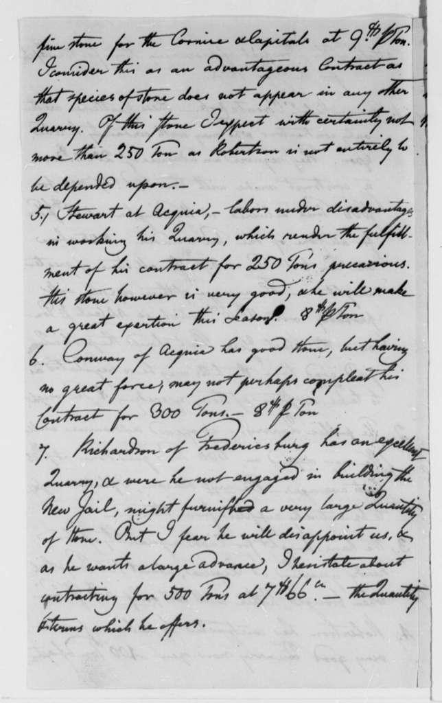 Benjamin H. Latrobe, Surveyor of the Public Buildings to Thomas Jefferson, 1804