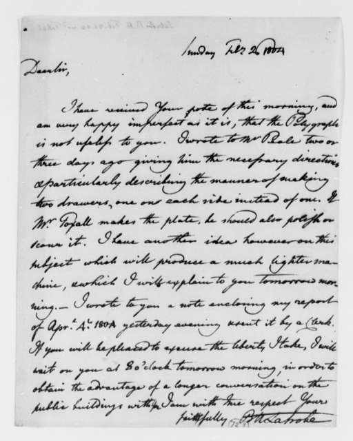 Benjamin H. Latrobe, Surveyor of the Public Buildings to Thomas Jefferson, February 26, 1804