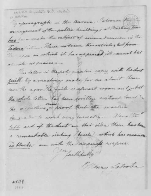 Benjamin H. Latrobe to Thomas Jefferson, November 9, 1804, with Drawing