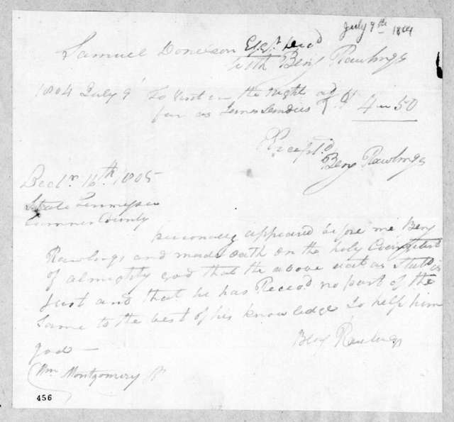Benjamin Rawlings to Samuel Donelson, July 9, 1804