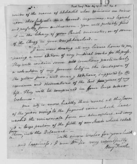 Benjamin Rush to Thomas Jefferson, August 29, 1804