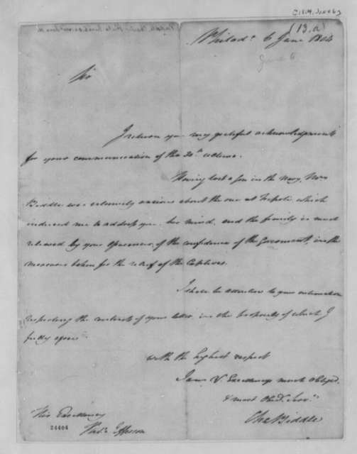 Charles Biddle to Thomas Jefferson, June 6, 1804