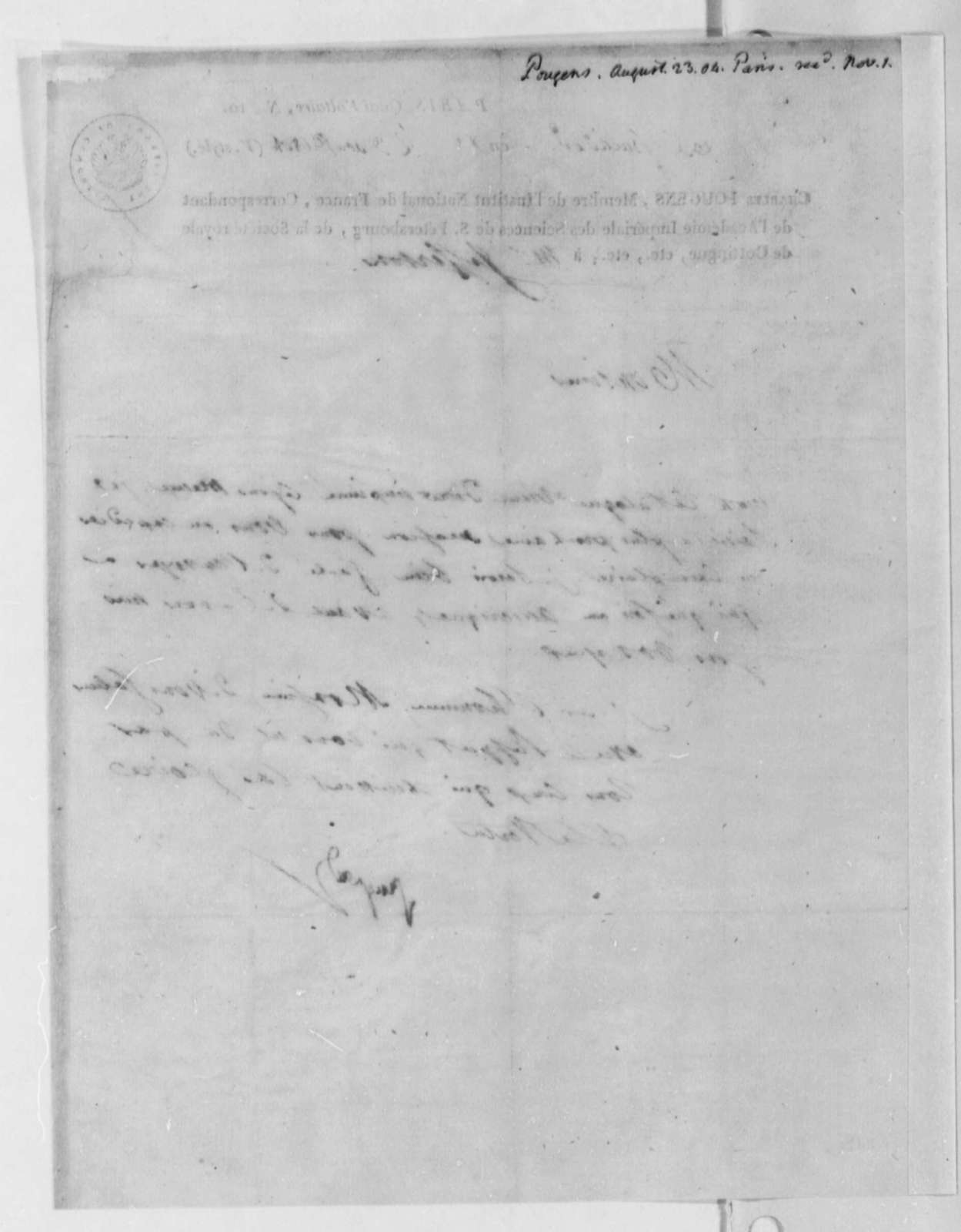Charles de Pougens to Thomas Jefferson, August 23, 1804