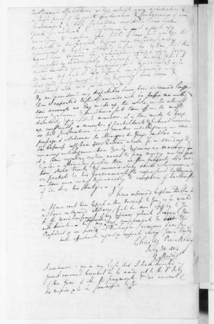 Charles Pinckney to James Madison, July 30, 1804.