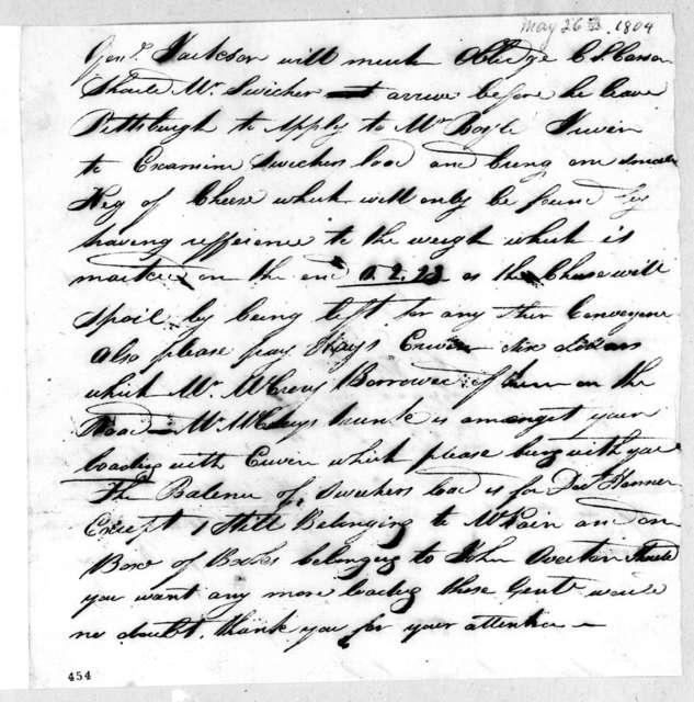 Charles S. Carson to Andrew Jackson, May 26, 1804