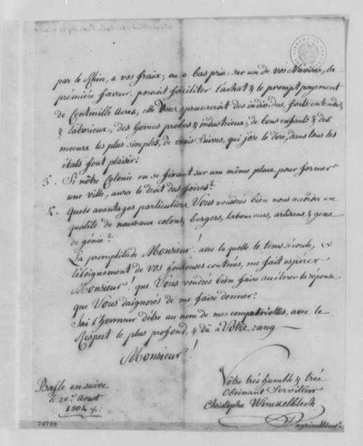 Christophe Winckelblech to Thomas Jefferson, August 20, 1804, in French