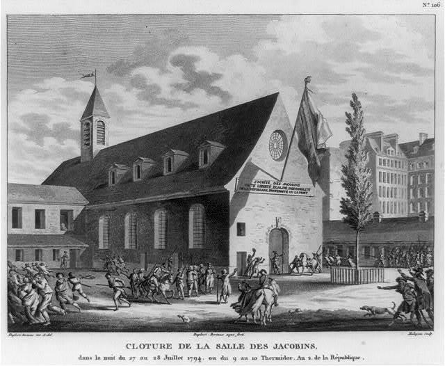 Cloture de la salle des Jacobins, dans la nuit du 27 au 28 Juillet 1794, ou du 9 au 10 Thermidor, an 2. de la République / Duplessi-Bertaux, inv. & del. ; duplessi, Bertaux, aqua forti ; Malapeau, sculp.