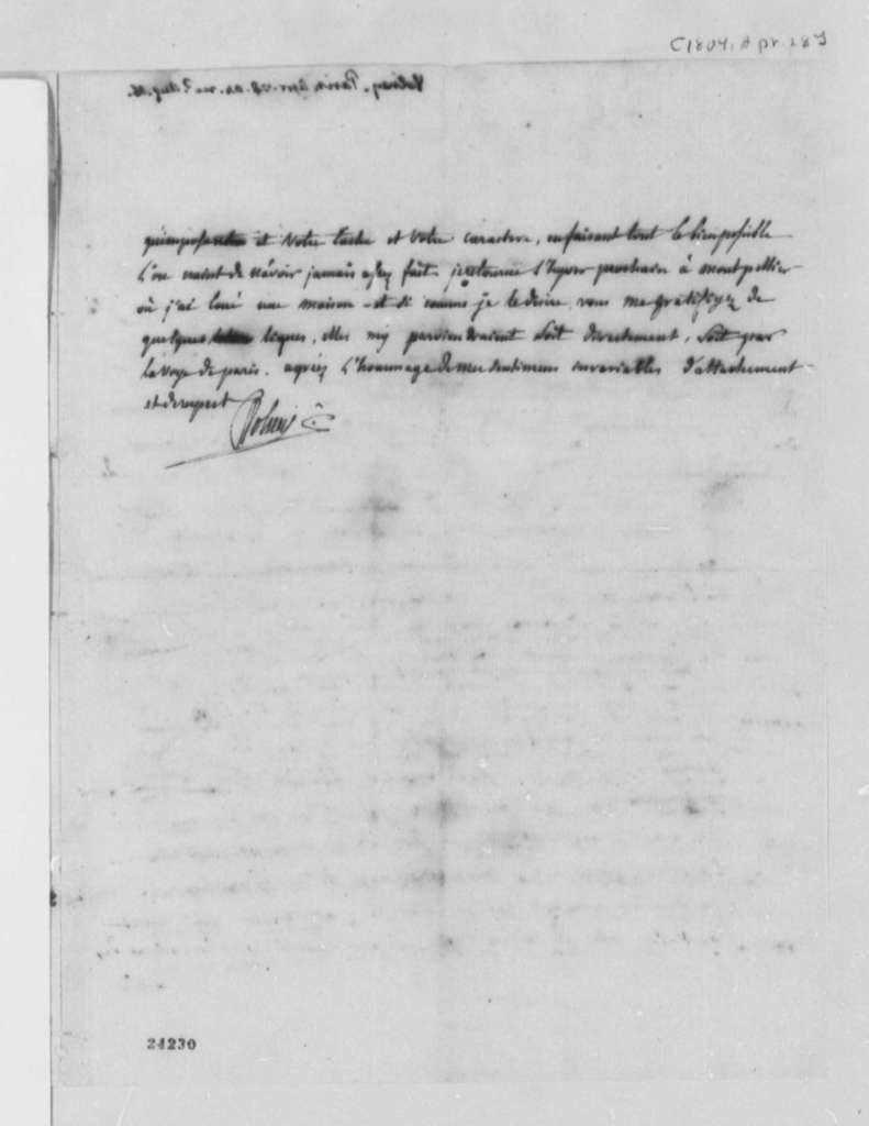 Count de Volney to Thomas Jefferson, April 28, 1804