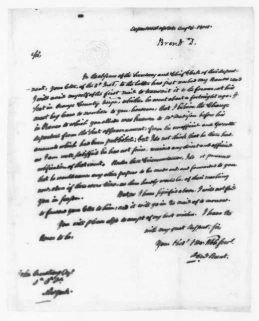 Daniel Brent to John Armstrong, August 6, 1804.