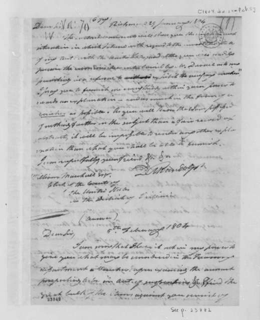 David M. Randolph to William Marshall, January 29, 1804