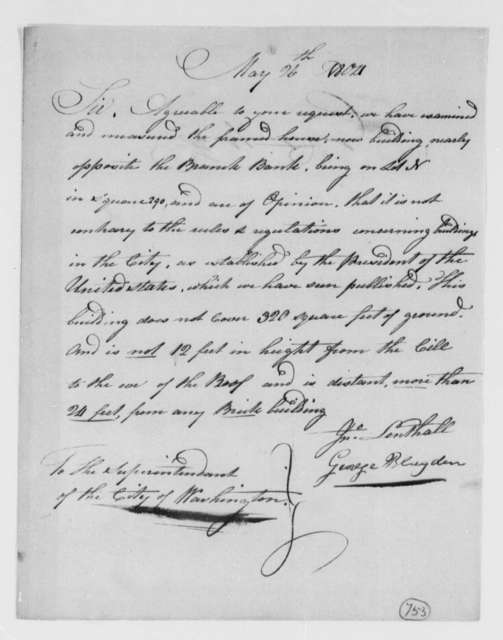 George Blagden and John Lenthall to Thomas Monroe, May 26, 1804