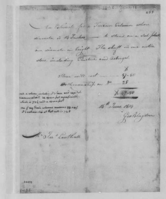 George Blagden to John Lenthall, June 14, 1804, with Thomas Jefferson Notes