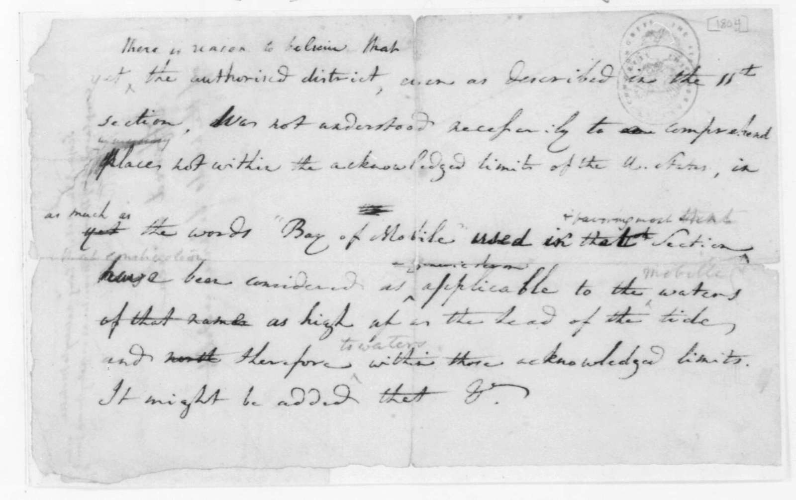 Gouch. Two Lists for James Madison, Valuation of Mares. 1804.