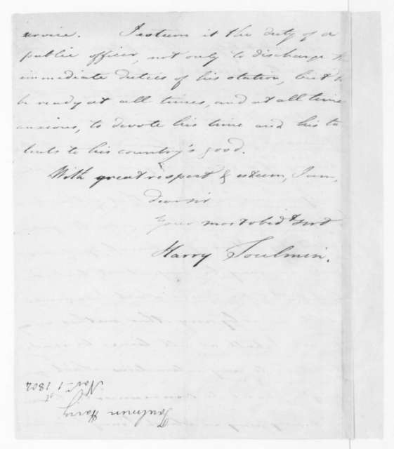 Harry Toulmin to James Madison, November 5, 1804.