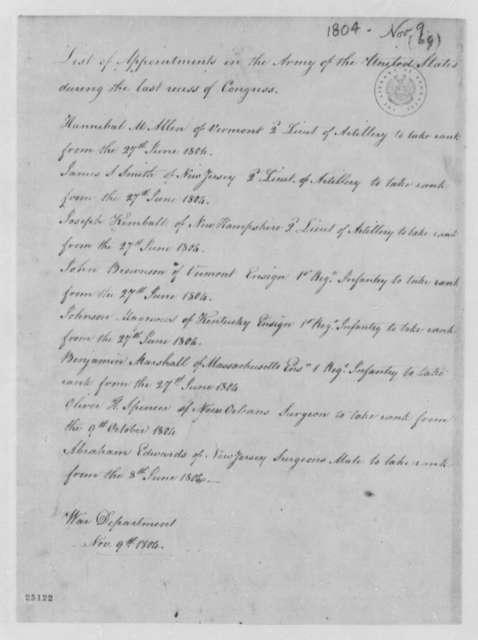 Henry Dearborn to Thomas Jefferson, November 9, 1804, List
