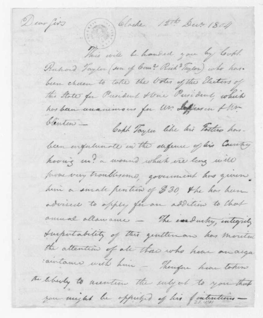Hubbard Taylor to James Madison, December 12, 1804.