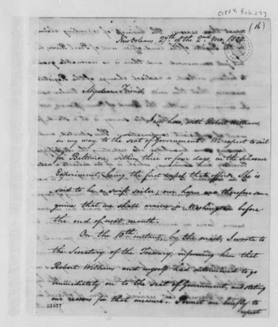 Isaac Briggs to Thomas Jefferson, February 27, 1804