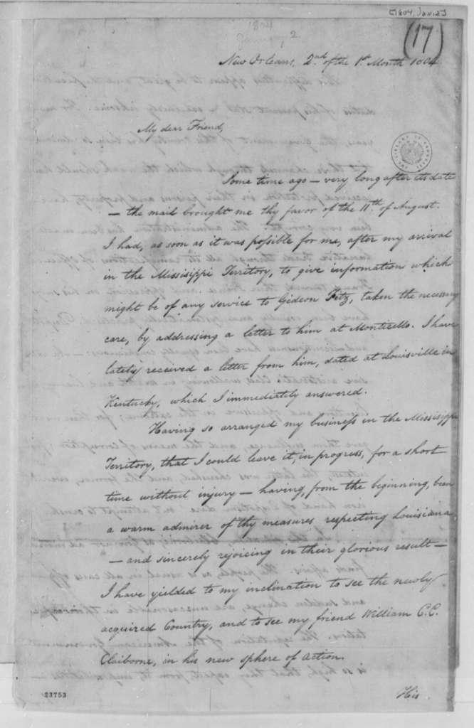 Isaac Briggs to Thomas Jefferson, January 2, 1804