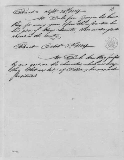 Jacob and Williams, September 28, 1804, Extract on Ray's Character, Dated October 6th