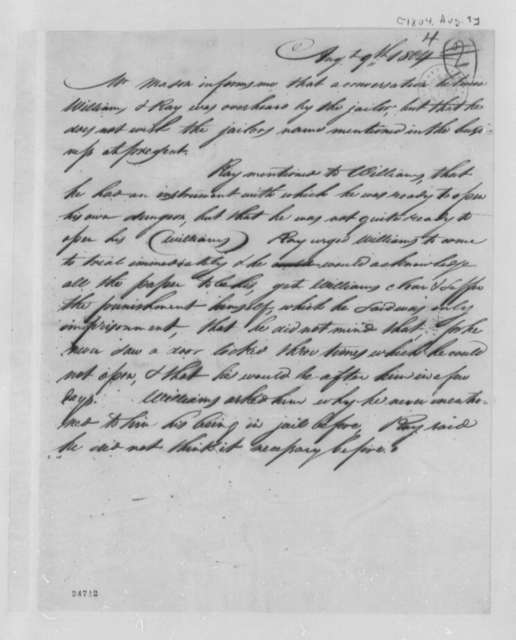 Jacob Ray, August 9, 1804, Report on Jail Break