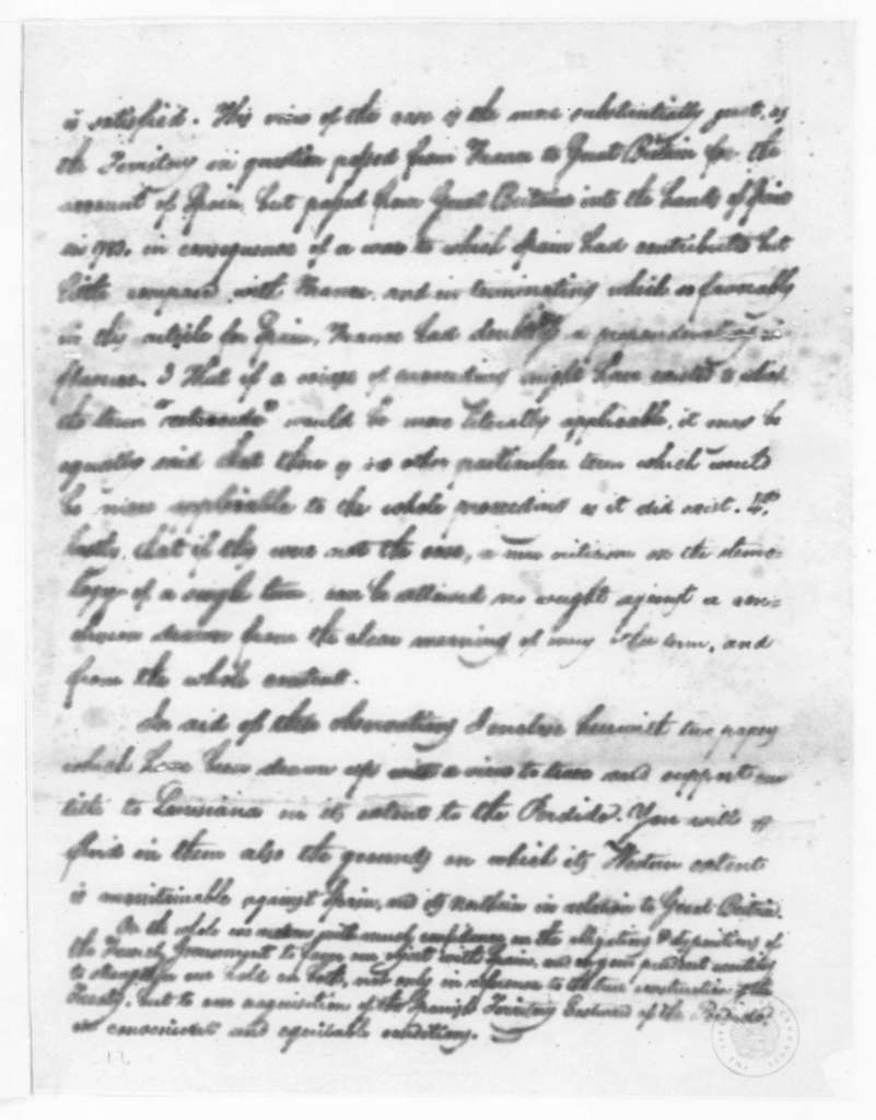 James Madison to Robert R. Livingston, March 31, 1804. Extract of letter, part in cipher.