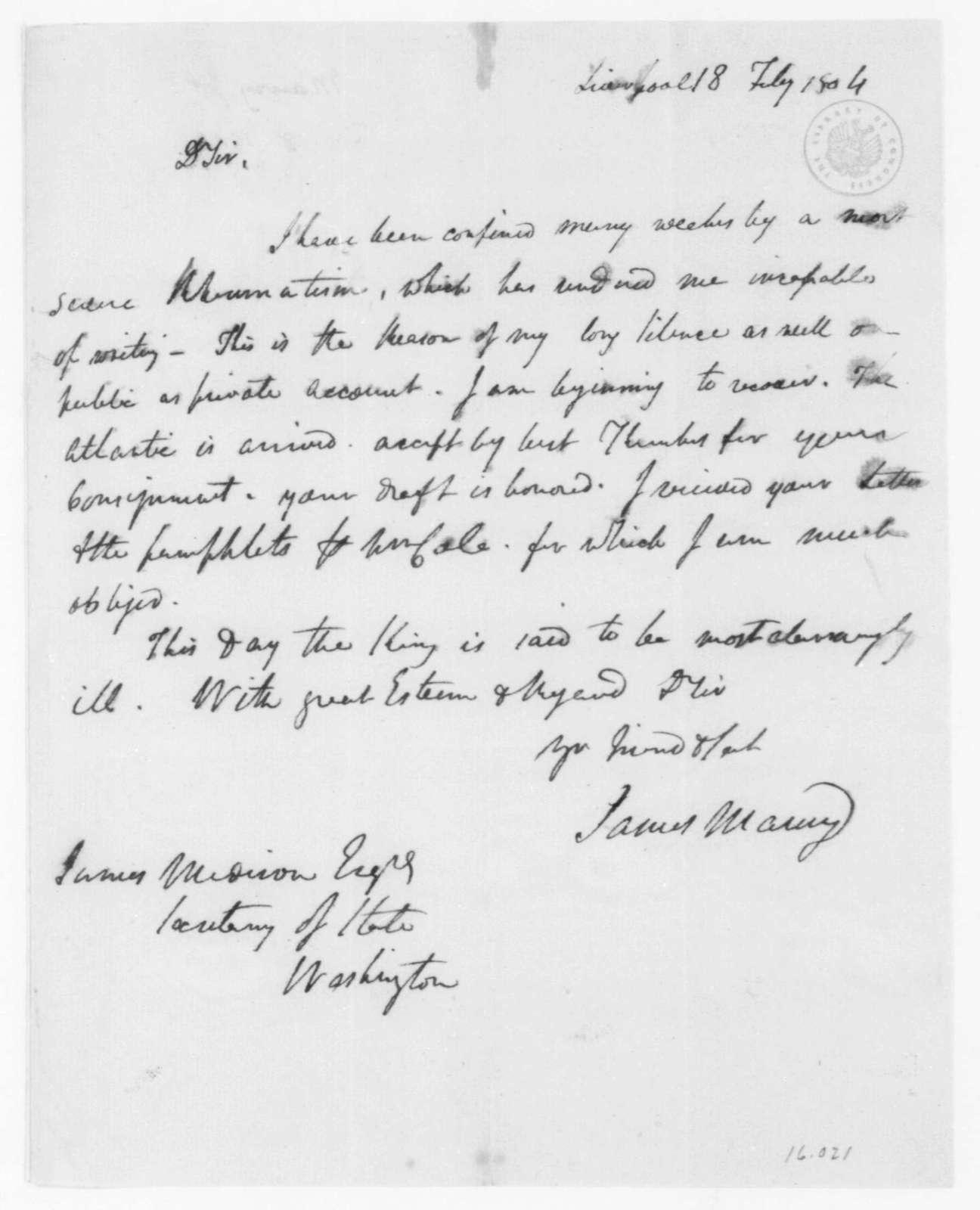 James Maury to James Madison, February 18, 1804.